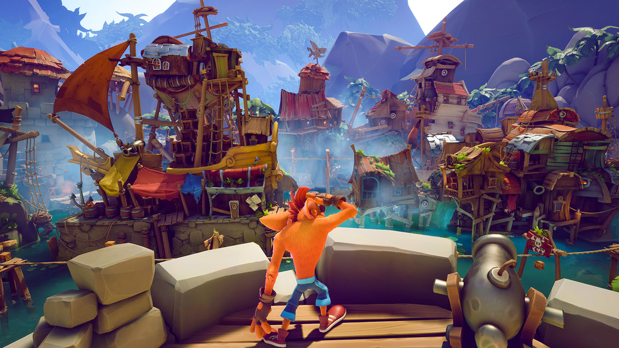 Crash schaut auf eine Reihe von Marktschiffen auf dem Wasser.