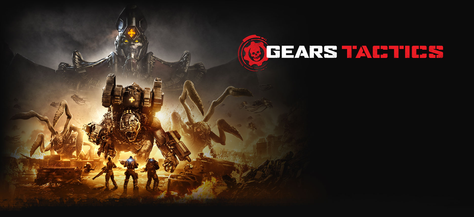 Gears Tactics, Three characters in heavy armour face large monsters in a burning war zone