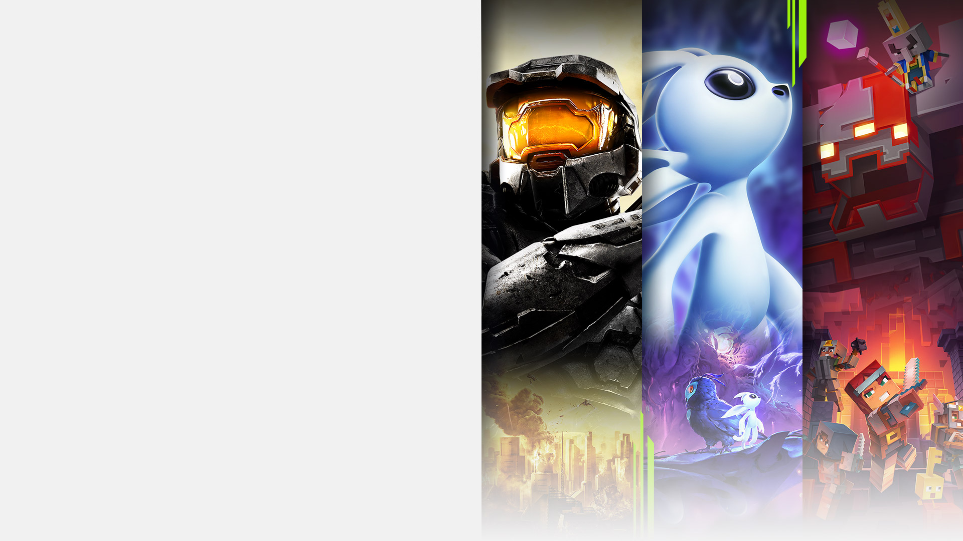 Game art from multiple games available with Xbox Game Pass for PC including Halo 2: Anniversary, Ori and the Will of the Wisps, Minecraft Dungeons, and Streets of Rage 4.