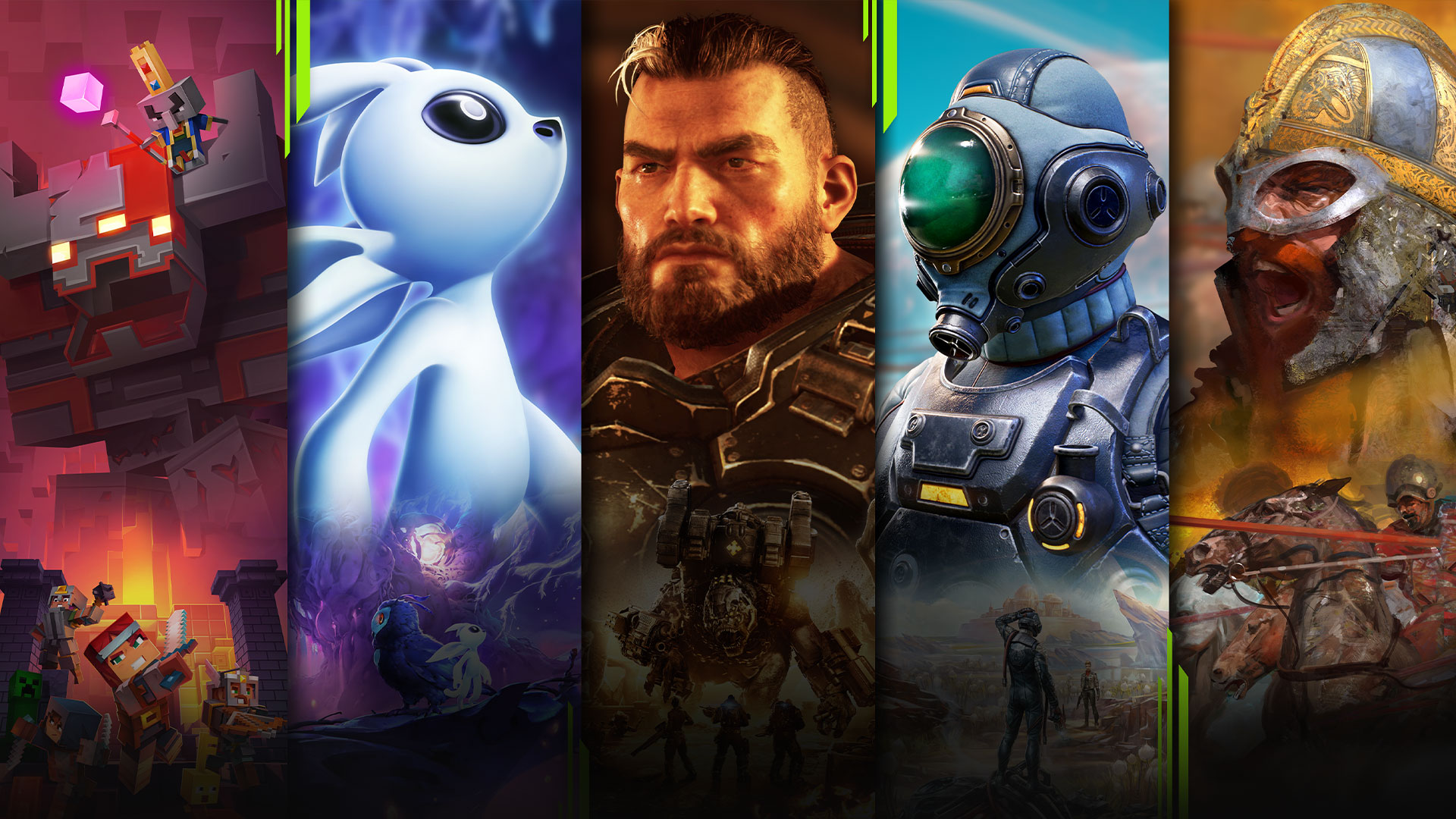 Game art from multiple games available with Xbox Game Pass for PC including Minecraft Dungeons, Ori and the Will of the Wisps, Gears Tactics, The Outer Worlds, and Age of Empires 2: Definitive Edition.