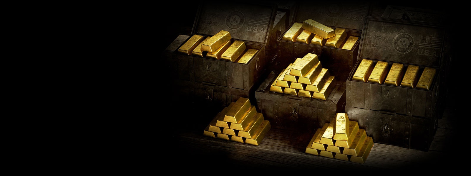 Many gold bars sit in a chest in Red Dead Redemption 2.