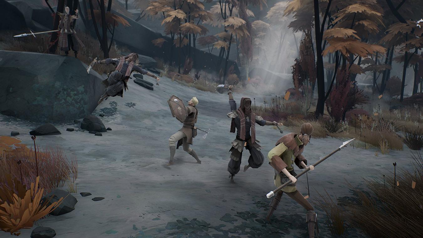 Dos personajes se pelean contra tres personajes humanos afuera
