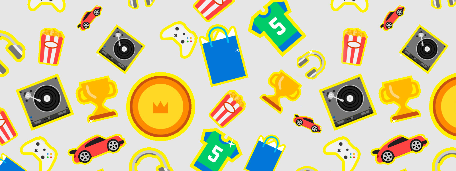 Various icons, including popcorn buckets, headphones, trophies, and cars.