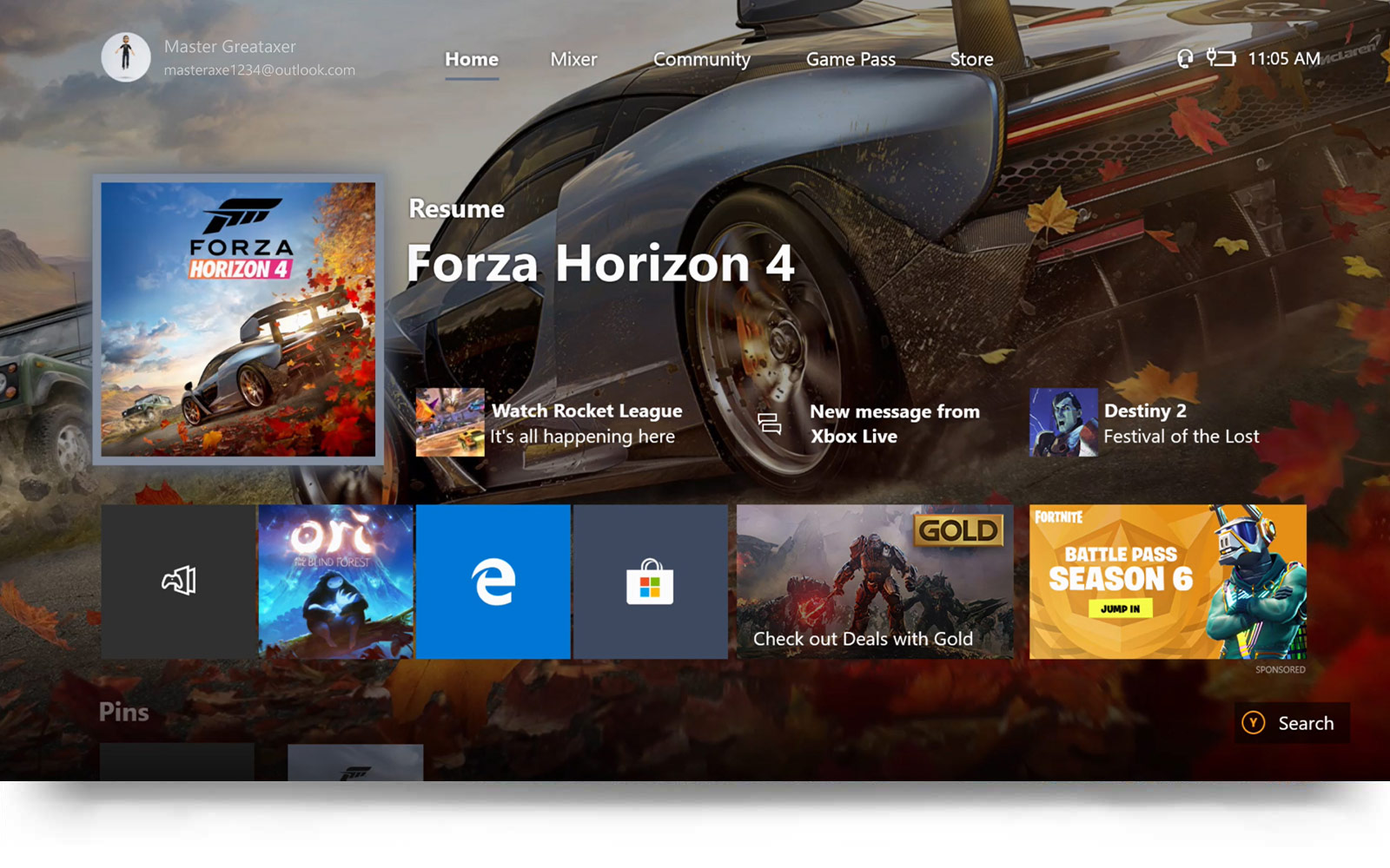 New Home Screen for the Xbox Dashboard showing Forza Horizon 4
