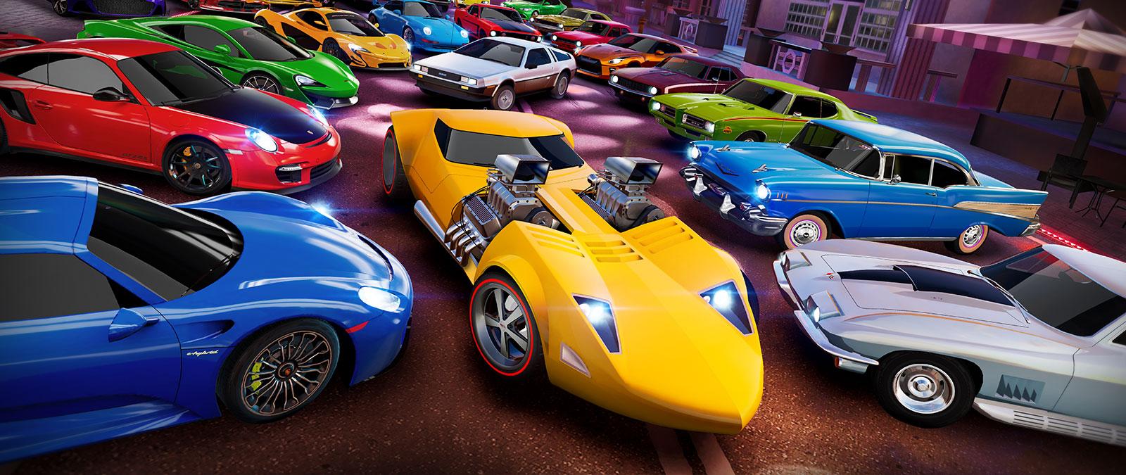 Forza Street. Many legendary cars on a street.
