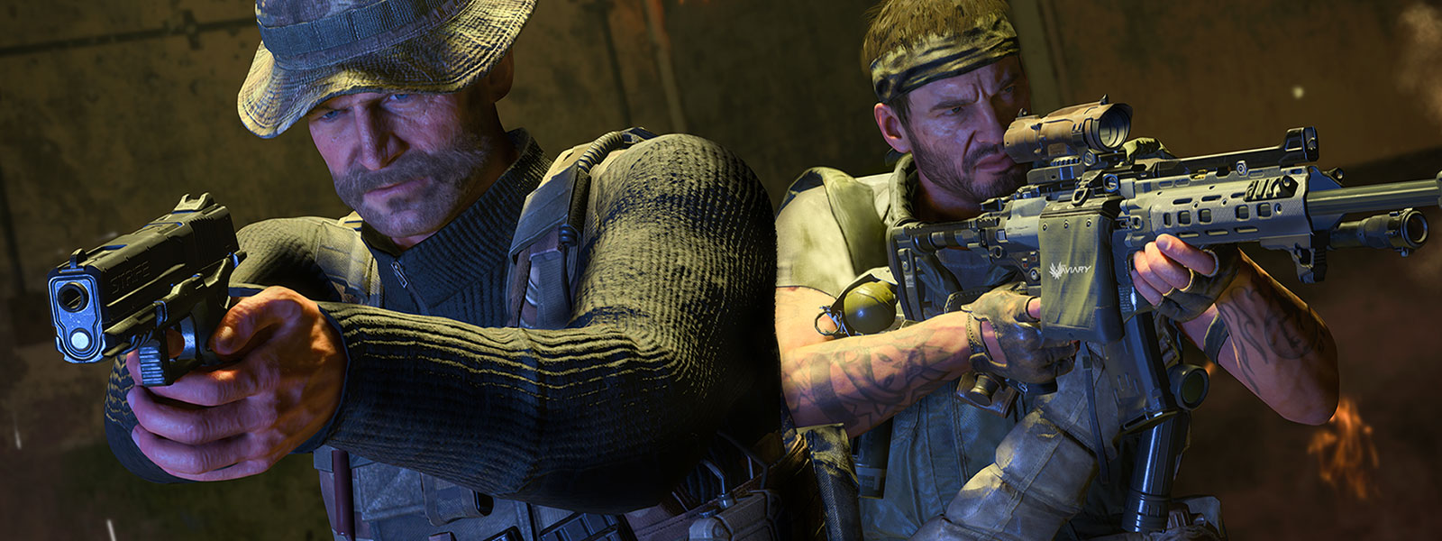 Two characters in tactical gear holding guns