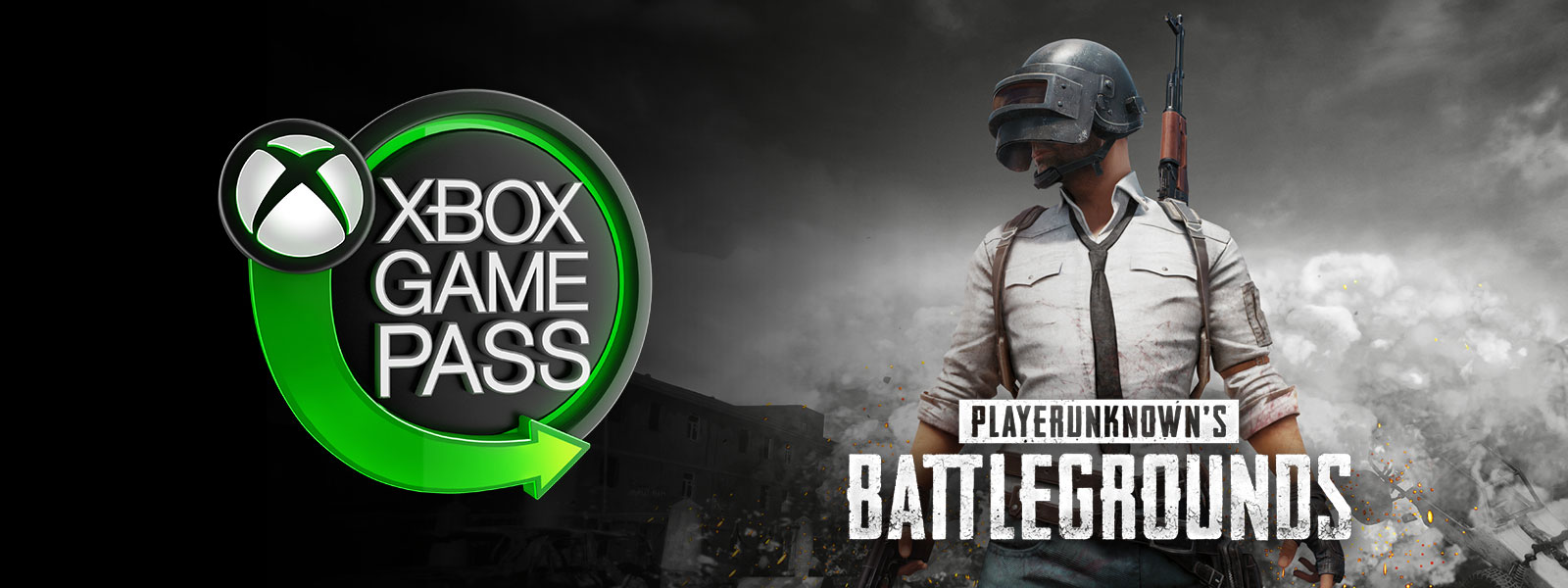 Xbox Game Pass logo, Playerunknown's Battlegrounds, Man wearing spetsnaz helmet and holding pistol stands in front of explosions