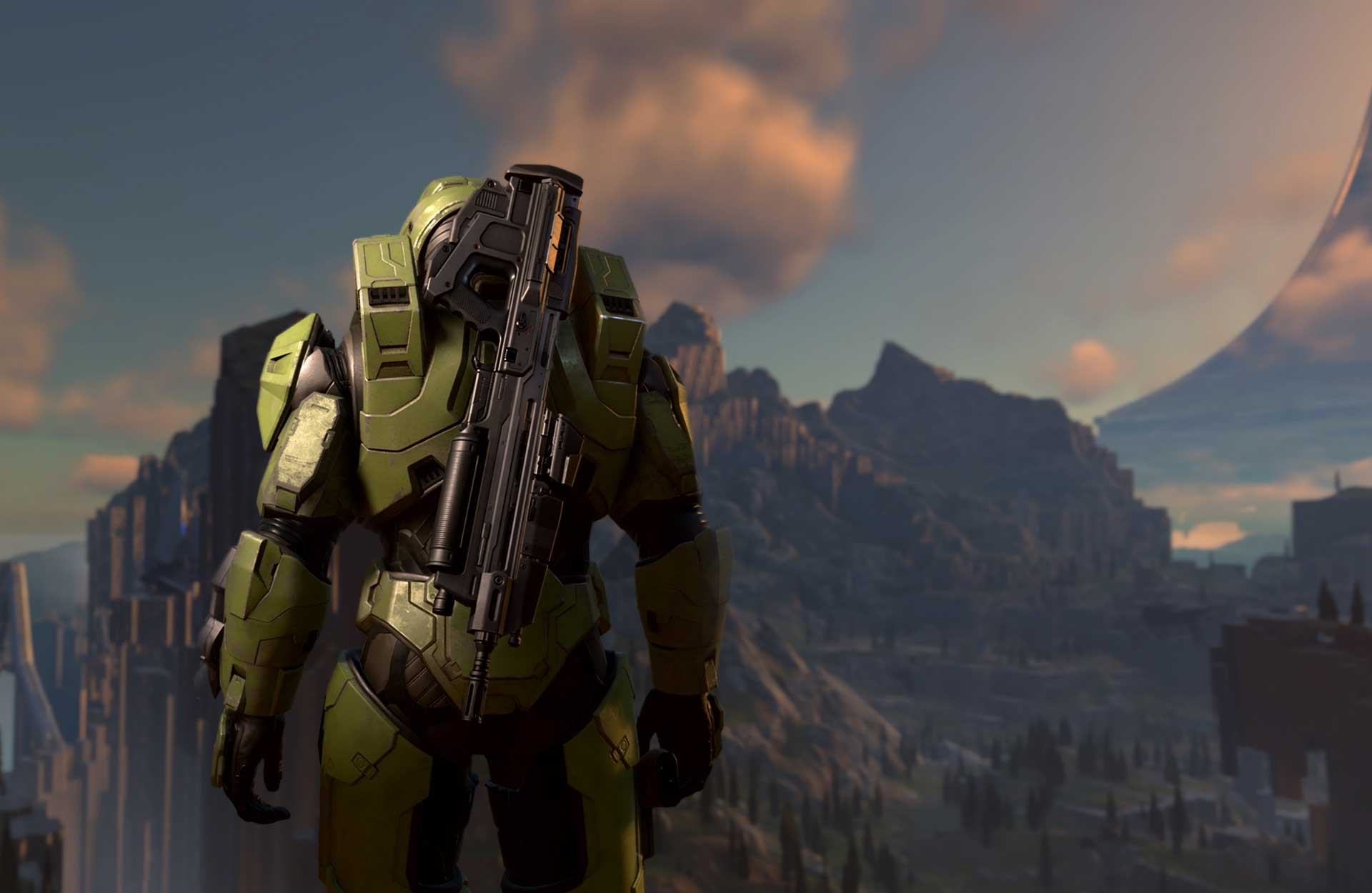 The back of Master Chief with an assault rifle attached to this back