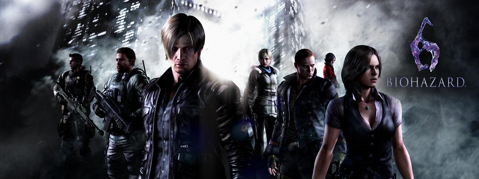 バイオハザード 6、レジデント イービルのキャラクター全員が不吉な高層ビル群の前に立っている