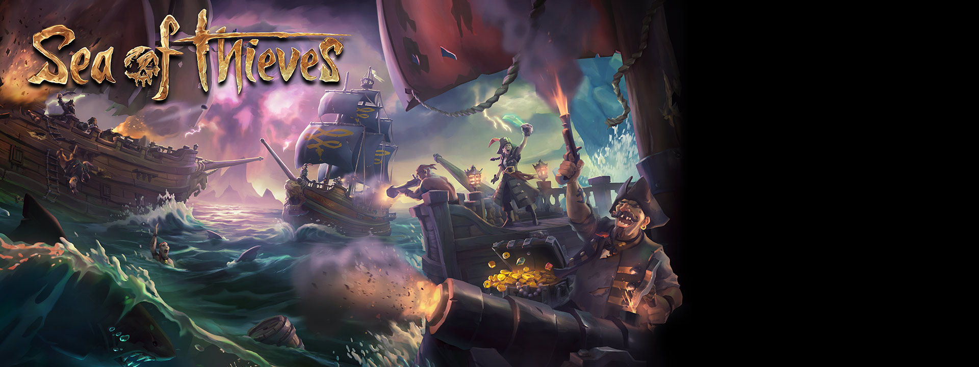 Sea of Thieves graphic - Ships shooting and looting each other