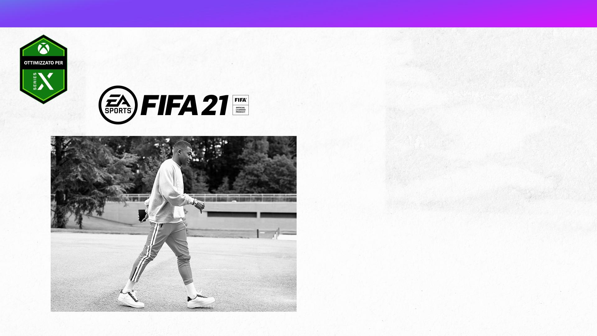 Ottimizzato per Xbox Series X, logo di EA Sports, FIFA 21, prodotto con licenza ufficiale FIFA, Kylian Mbappé che cammina