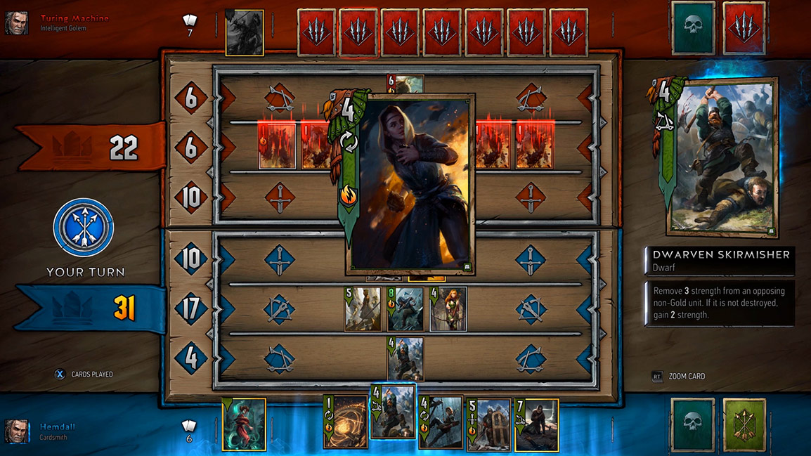 view of Gwent card game battle screen