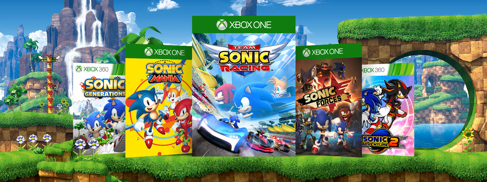 A collage of box art for classic and modern Xbox One and Xbox 360 Sonic games against a backdrop of tropical structures and plant life.