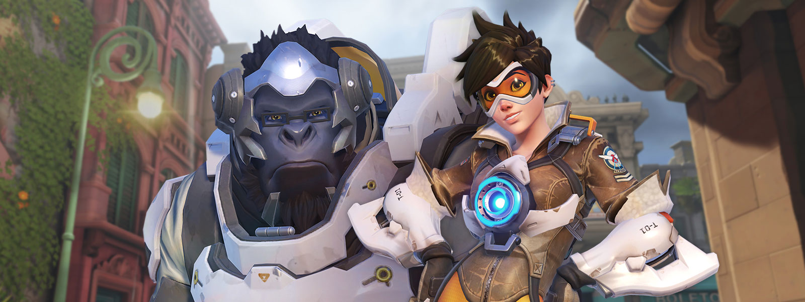 Overwatch heroes Winston and Tracer posing