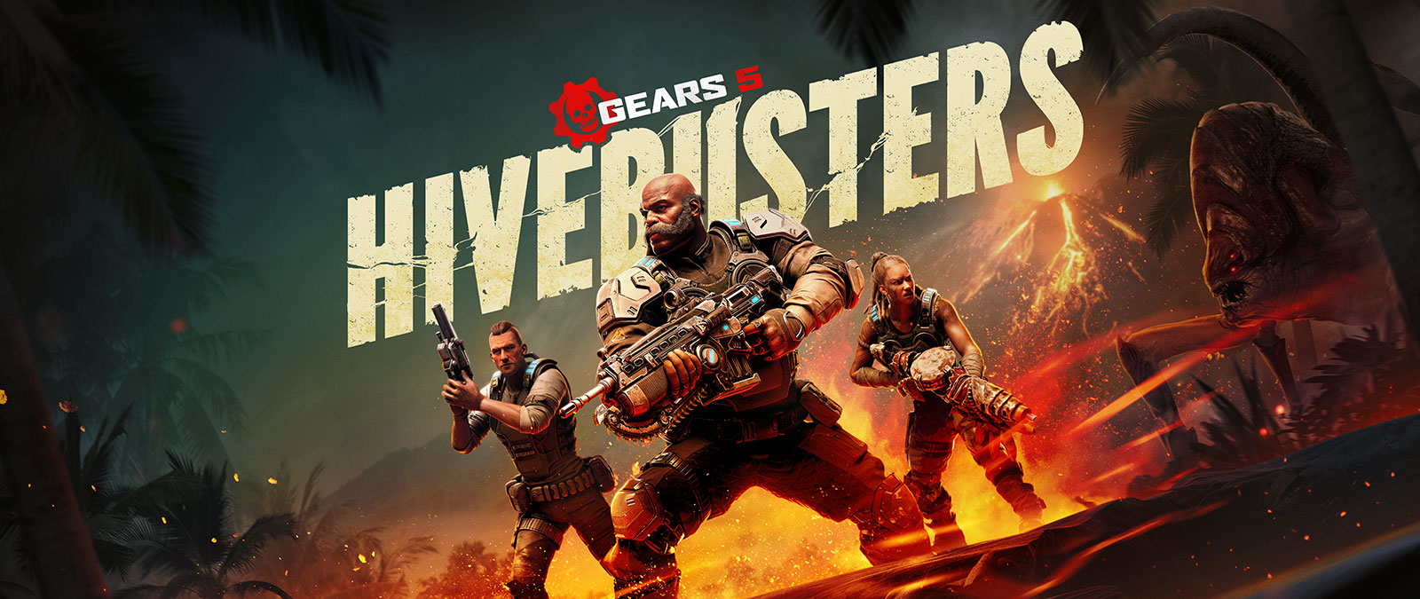 Gears 5 Hivebusters, three characters from Gears 5 with weapons in front of a volcano