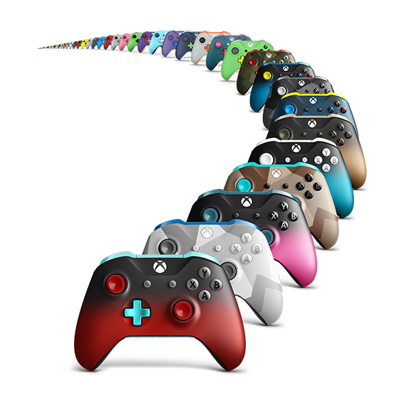 Un arrangement de manettes Xbox Design Lab