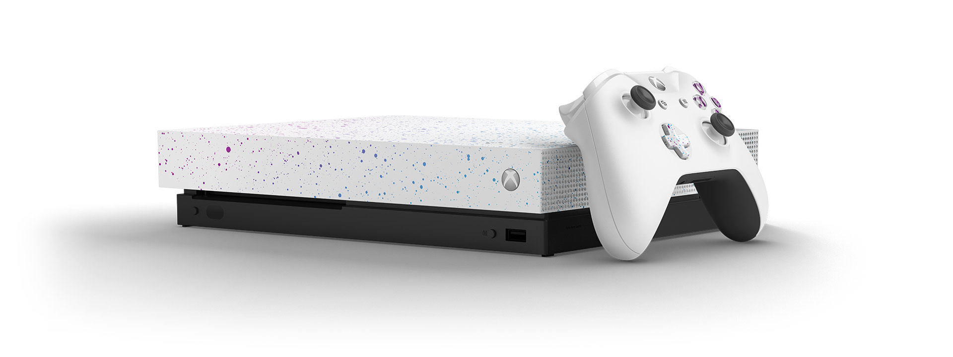 Xbox One X Hyperspace console with an Xbox wireless controller