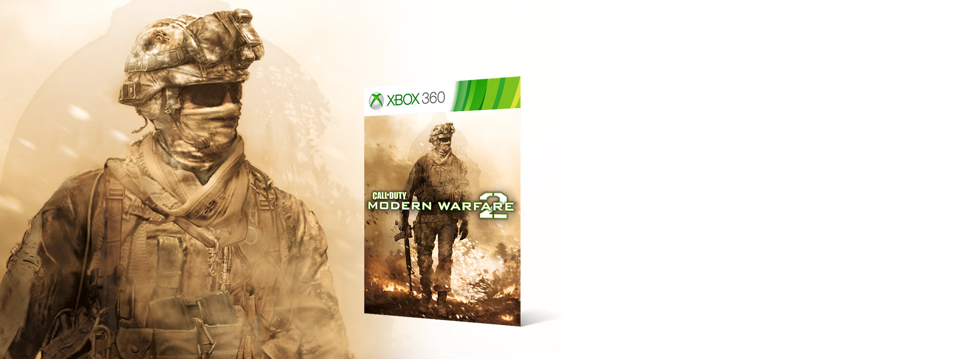 Call of Duty Modern Warfare 2 boxshot next to a Modern Warfare Soldier