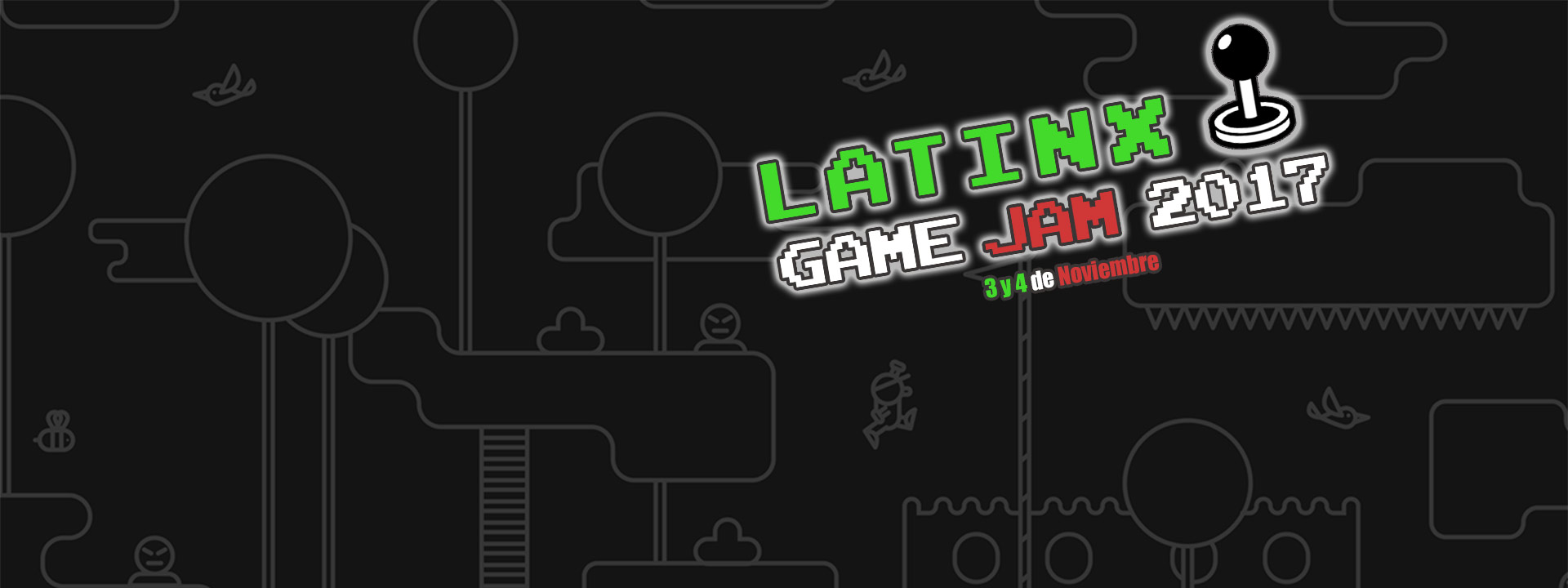 Retro graphics with joystick and Latinx Game Jam event logo