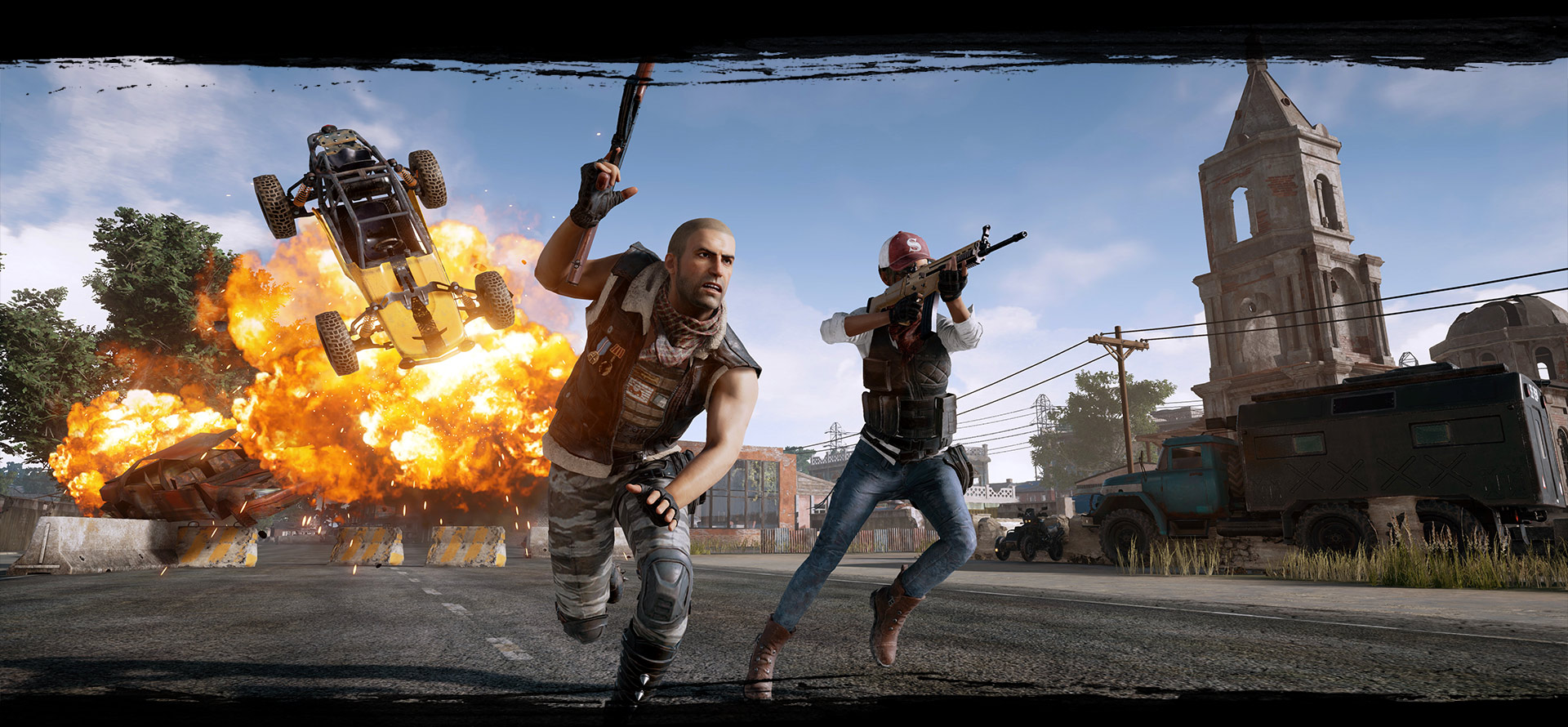 Players running through streets avoiding an explosion