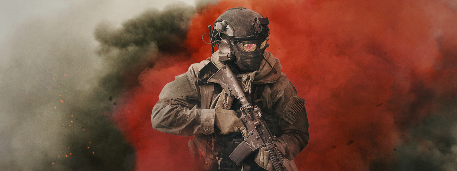 Call of Duty: Modern Warfare character wearing tactical gear and holding a gun in front of white, grey and red smoke