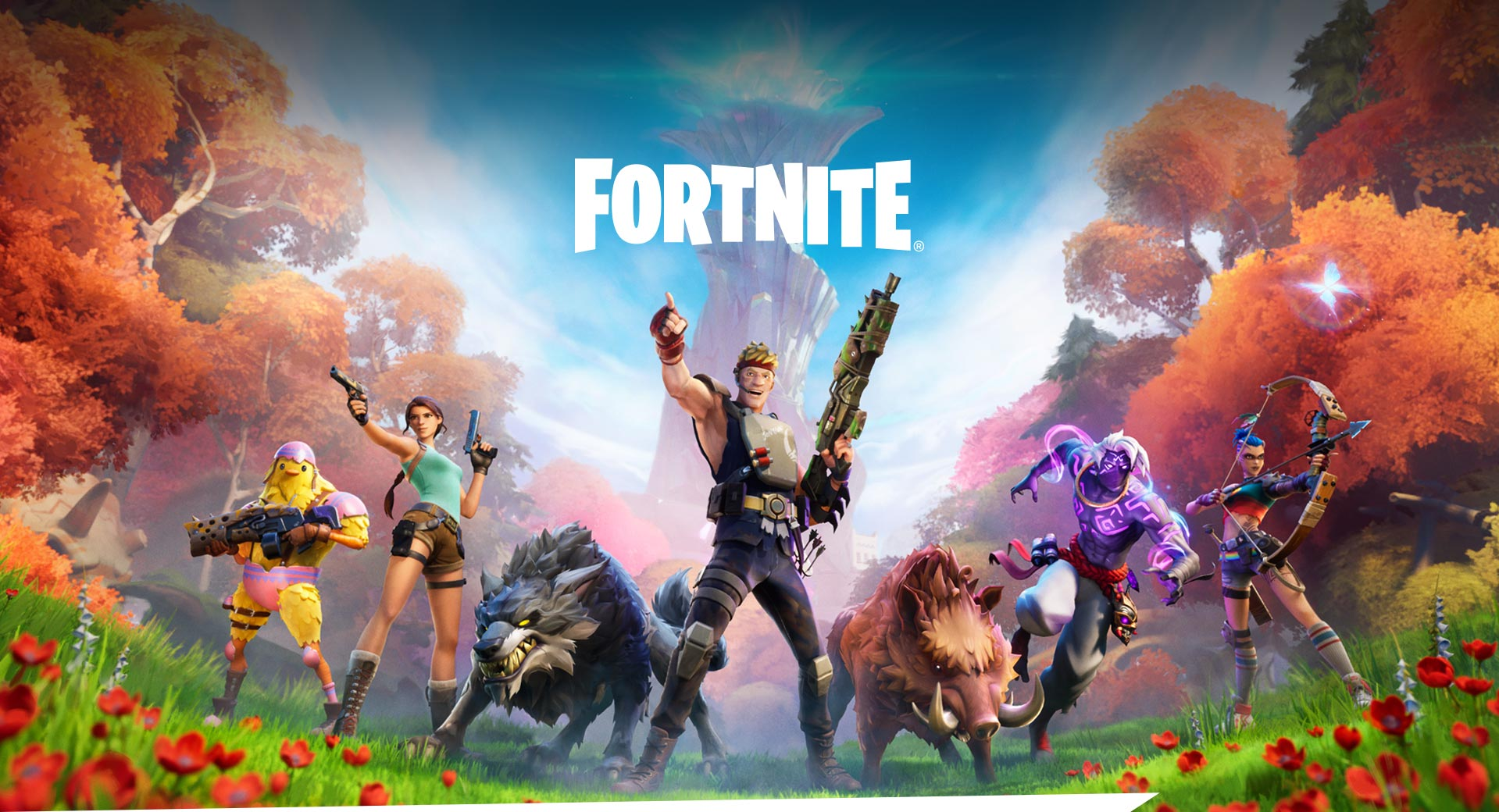 Fortnite, A group of characters and wild animals line up in front of a lush forest landscape.