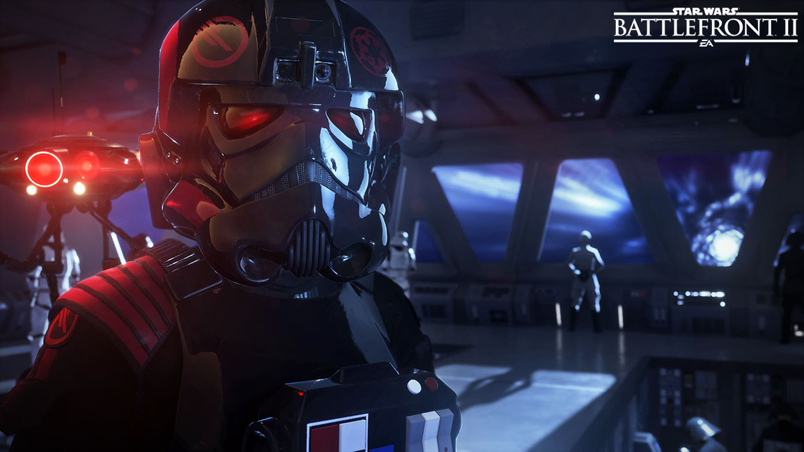 Front view of Iden Versio with her mask on standing in a spaceship