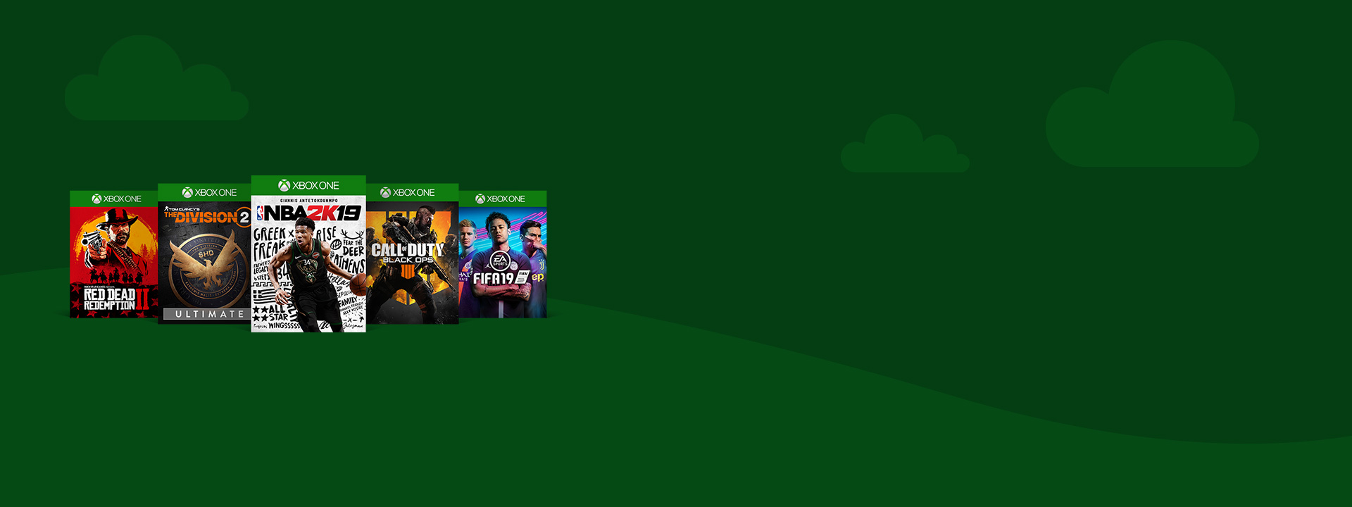 Box shots of Red Dead Redemption 2, The Division 2, NBA 2K19, Call of Duty: Black Ops 4, and Fifa 19 on a green spring-themed background featuring a handful of clouds