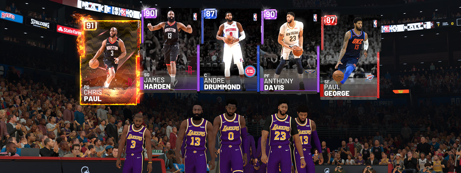 Vista frontal del equipo de básquet Lakers con Chris Paul, James Harden, Andrew Drummond, Anthony Davis y Paul George