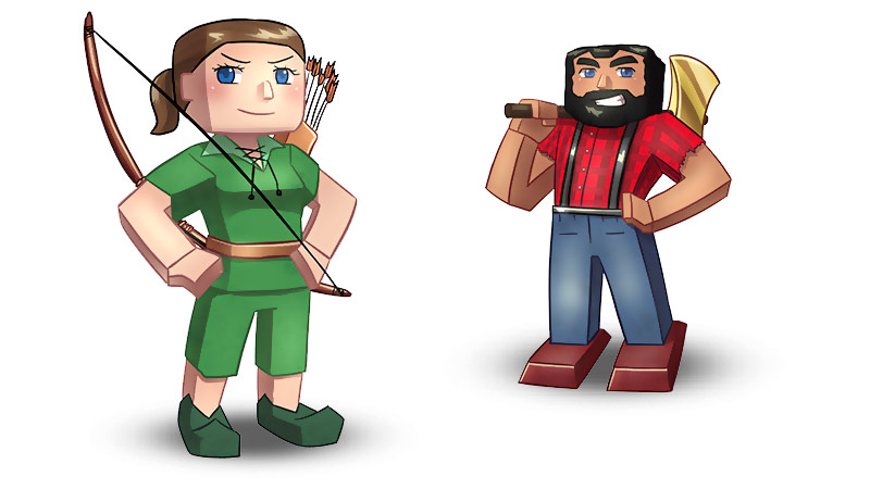 Minecraft Player with a bow and arrow. And Minecraft Lumberjack.