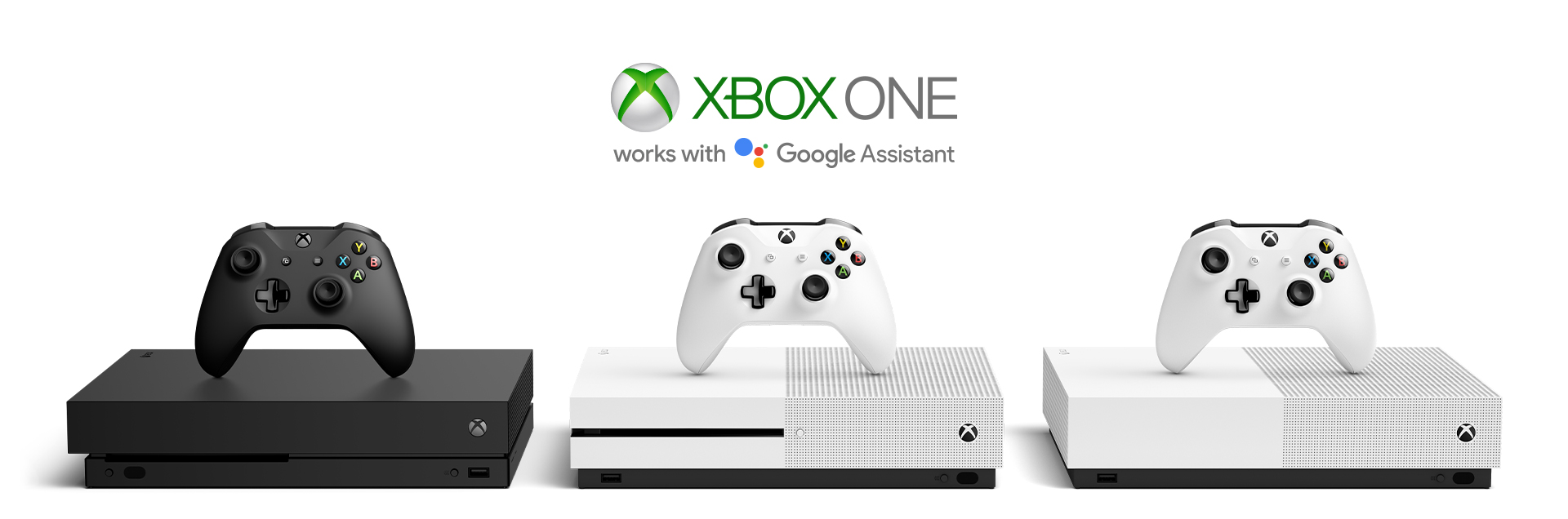 The Xbox One family of consoles underneath the Xbox One and Google Assistant logos.