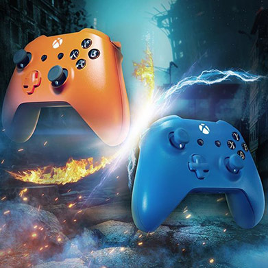 An orange controller surrounded by fire and a blue controller surrounded by lightning