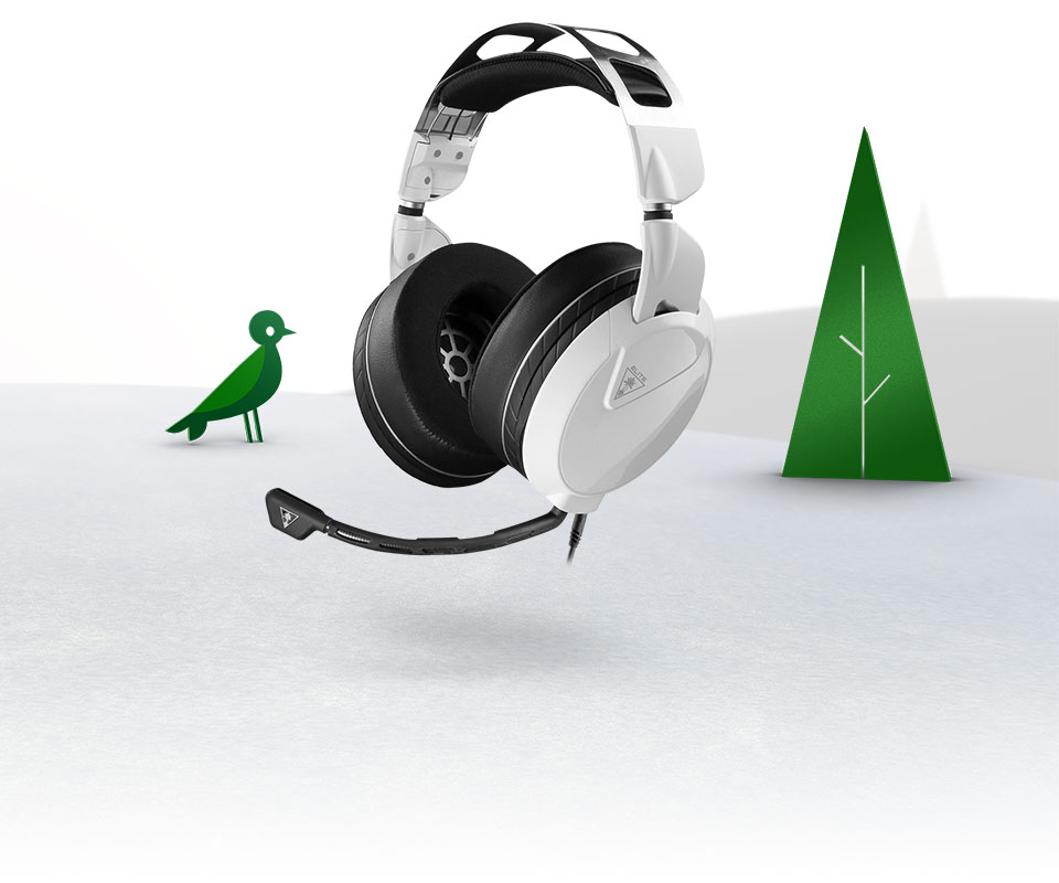Turtle Beach headset on a snowy background with a bird and a tree