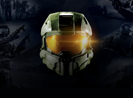 Front view of the Halo Master Chief helmet on a background of battle scenes.