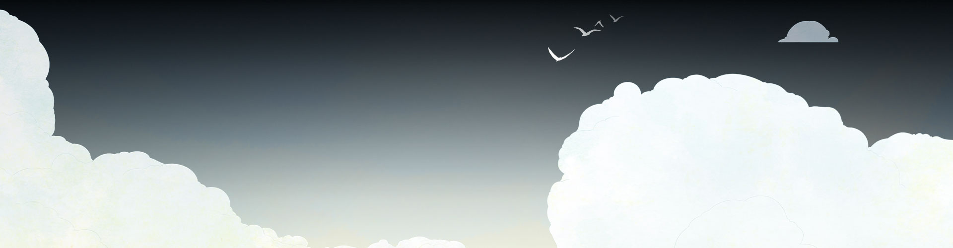 Bakgrunn med skyer og fugler som flyr bort