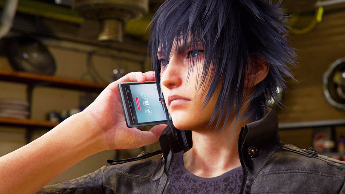 Close up of Noctis in a garage holding a smartphone to his ear