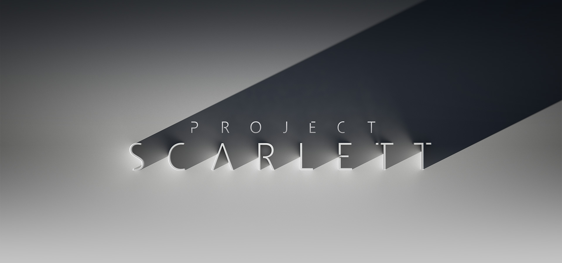 Project Scarlett, stylsed three dimensional lettering cast in shadow