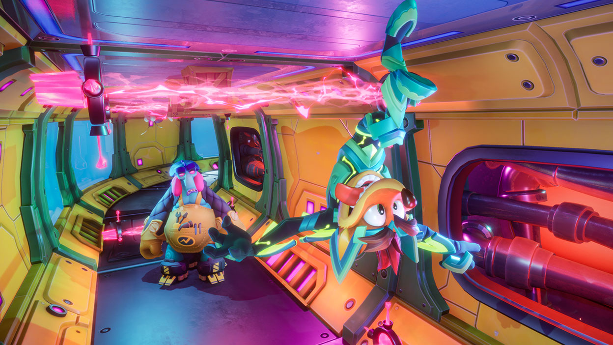 Crash runs on the ceiling of a ship in a metal suit.