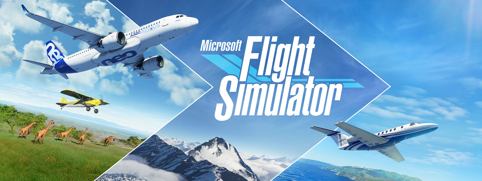 Microsoft Flight Simulator, planes and scenes from different parts of the world