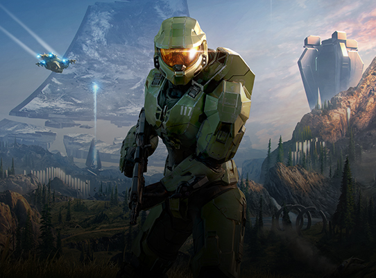 Front view of Master Chief in front of a mountain range