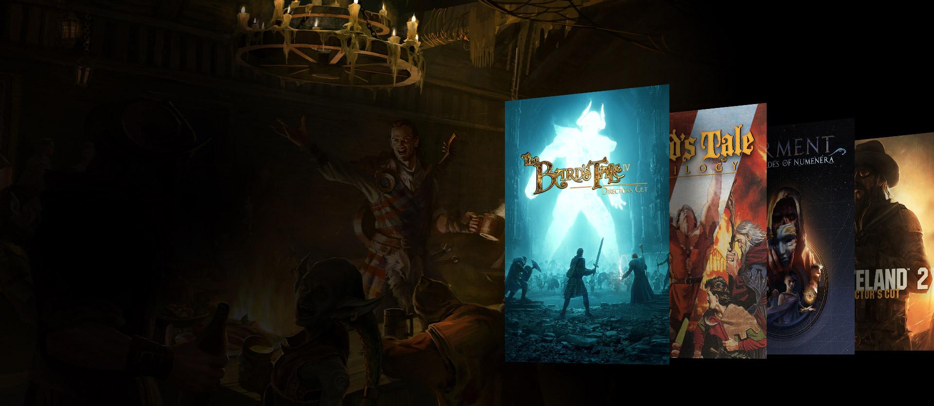 Imágenes de la caja de The Bard's Tale IV, Bard's Tale Trilogy, Torment: Tales of Numenara y Wasteland 2. Un fondo de personajes alrededor de una mesa con bebidas