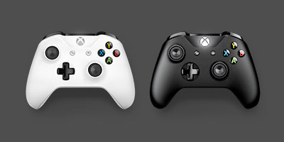 Front view of Black and White Xbox Wireless Controller