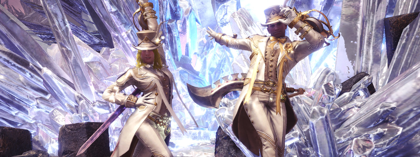 Male and female character pose in elegant outfits