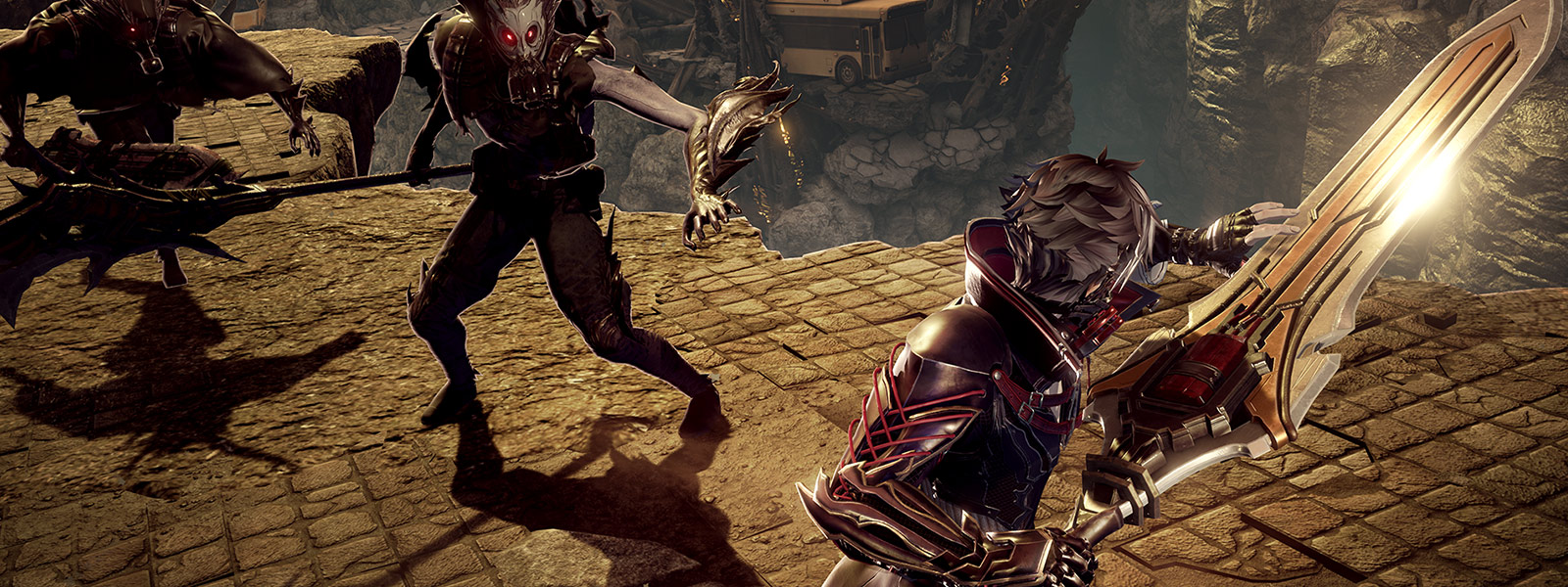 Code vein character prepares to attack the lost with sword