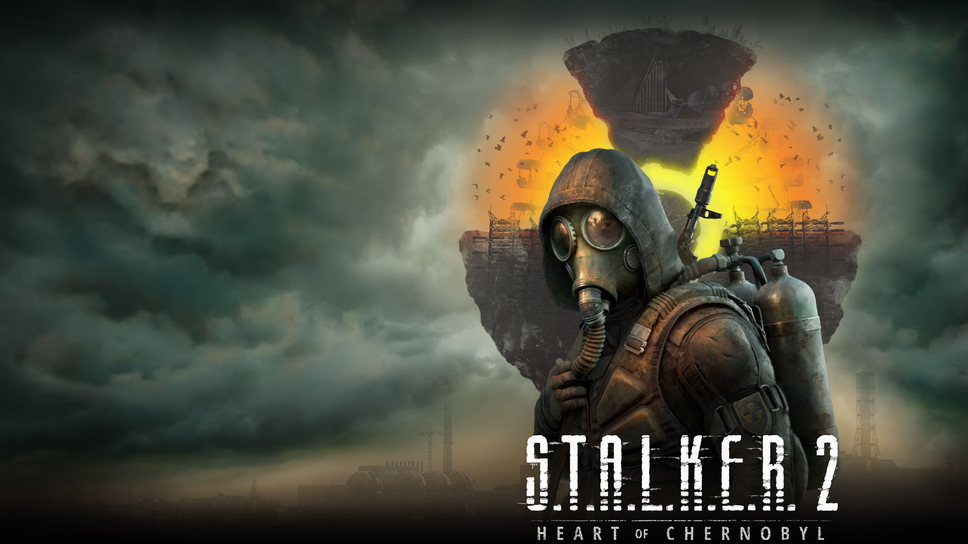 Stalker 2 Heart of Chernobyl, a character stands in front of a floating landscape with clouds and smoke in the air.