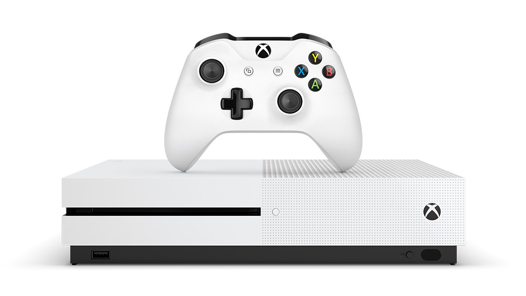 Front view of white Xbox One S console and controller