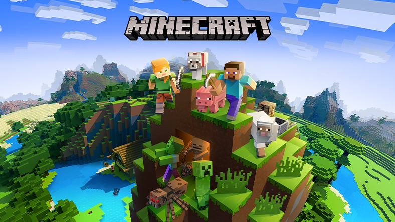 Minecraft-figurer och -djur står på en kulle i ett Minecraft-landskap