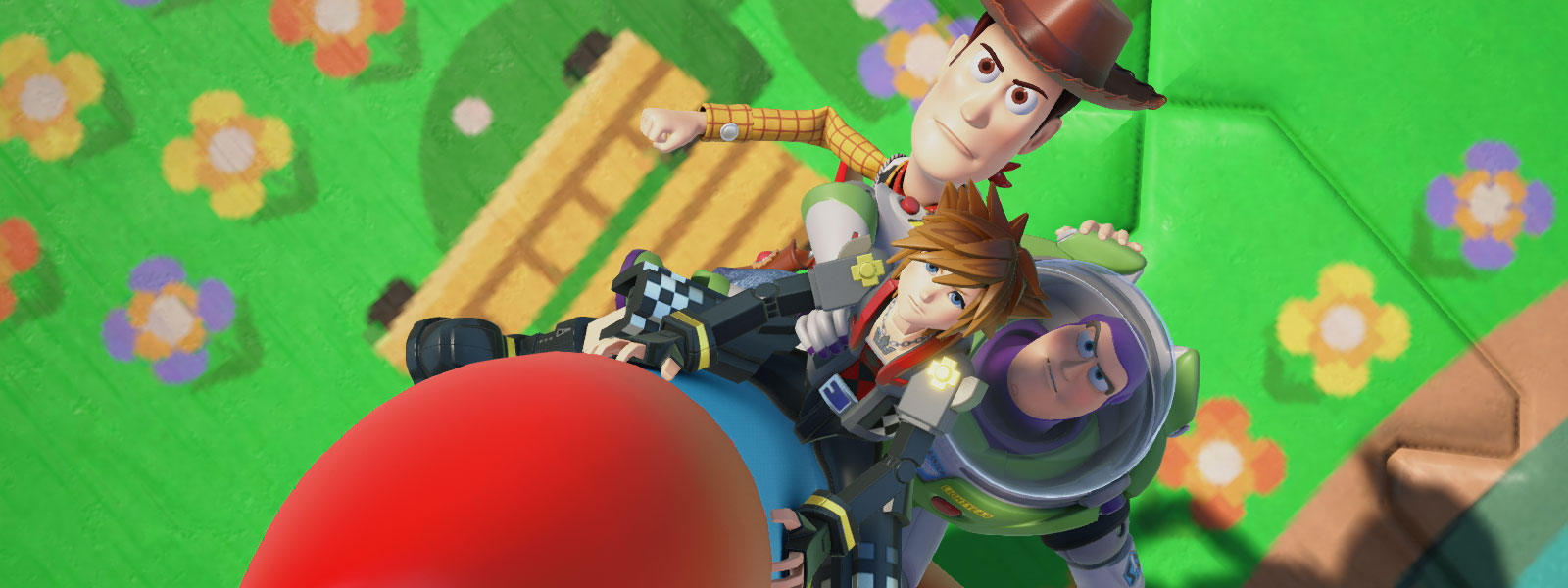 Sora, Woody, and Buzz Lightyear ride on a rocket in Toy Story World