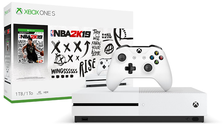 Front view of Xbox One S NBA 2K19 Bundle 1 terabyte