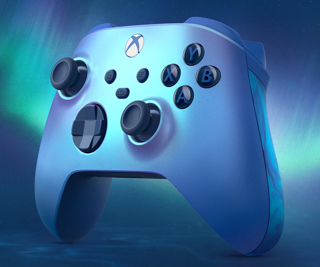 Bezdrátový ovladač Xbox Aqua Shift s modrou a zelenou polární září